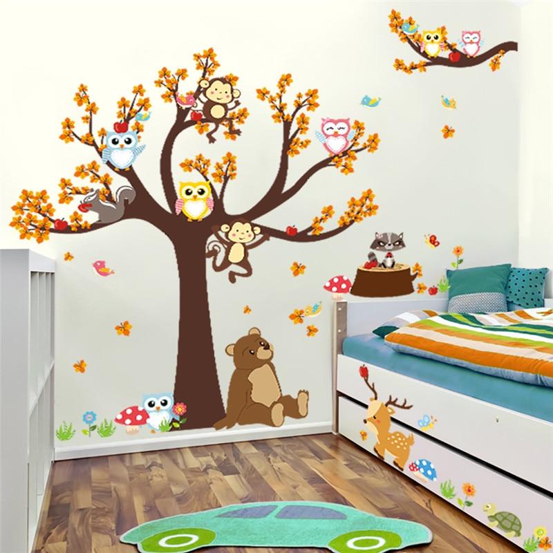Forest Tree Branch leaf Animal Cartoon Owl Monkey Bear Deer Wall Stickers For Kids Rooms Boys Girls Children Bedroom Home Decor