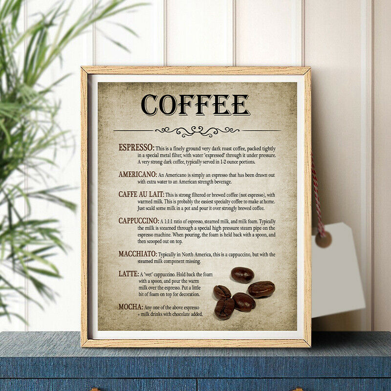 Coffee Making Vintage Poster Print Coffee Percolator and Coffee Bean Wall Art Canvas Painting Types Of Coffee Picture Home Decor