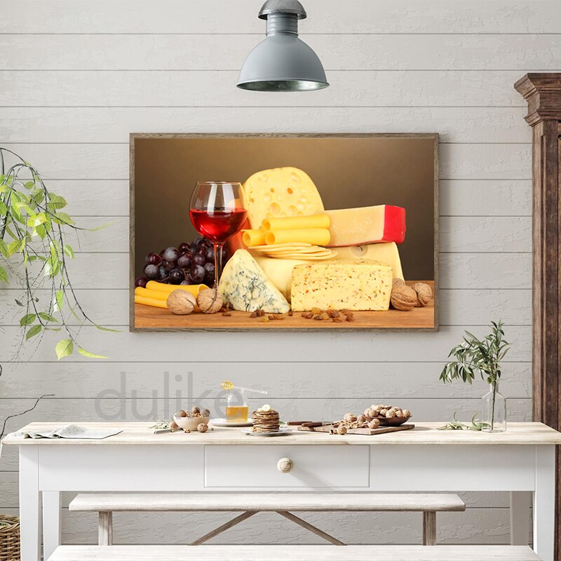Cheese and Wine on Wooden Table Canvas Painting Kitchen Wall Decorative Pictures Restaurant Dining Room Poster Art Prints Decor