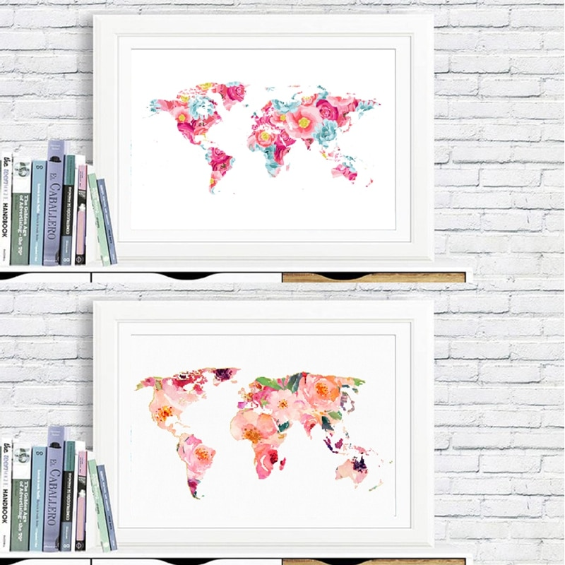World Map Poster and Prints Girls Room Wall Art Decor , Watercolor Floral World Map Chic Art Picture Canvas Painting
