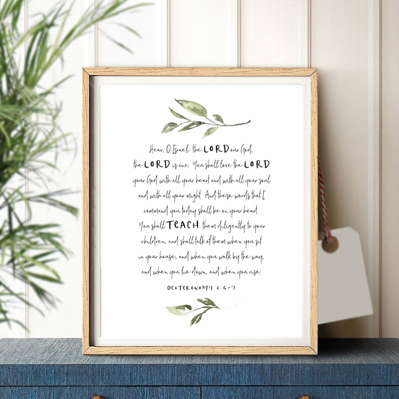 Israel Scripture Verse Deuteronomy 6:4-7 Canvas Poster Bible Verse Quotes Wall Art Painting Picture for Living Room Home Decor