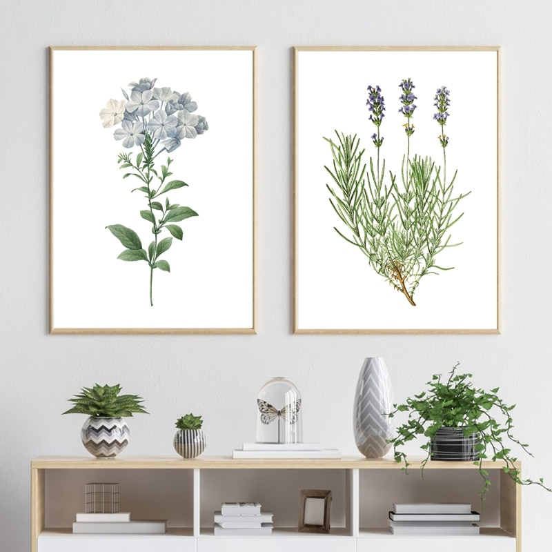 Lavender Botanical Vintage Poster Blue Flower Print Watercolor Wall Art Canvas Painting Blue Plumbago Plant Picture Home Decor